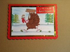 7x5 card made with Hobby art stamps daryl the quirky turkey