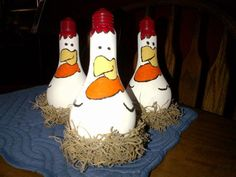 Painted Lightbulbs - Hens/Roosters