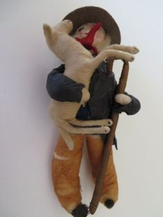 Unusual-Antique-German-Spun-Cotton-Christmas-Ornament-Man-Carrying-a-Sheep