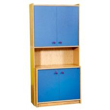 Classic Storage Units-Classic Storage Unit 5 45605 Modular units with many configurations to fit different classroom walls. Made of 18 mm thick M.D.F with unscratchable washable beech veneer laminate. The edges are rimmed with a thick rounded-off edged plastic frame. Doors are made of colored melamine with 3 alternative colors (red -blue - yellow). Size: 90 x 40 x 185 cm