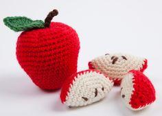 Pommes et quartiers de pommes au crochet