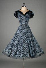 Vintage 1950's Blue Lace Norman Original Cocktail Dress thumbnail 2