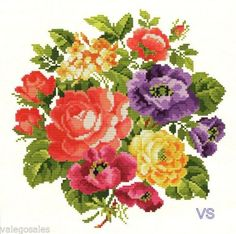 Ellen Maurer-Stroh Counted Cross Stitch Chart Pattern ~ FLOWER BOUQUET #010