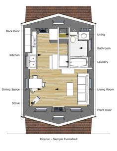 I will use a layout similar to this one to complete my shed-to-guest cottage conversion [pioneer cabin, Tiny House Design].  [16x20].