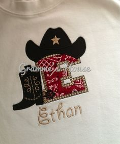 c5279a382d2 Cowboy theme onesie or tshirt with applique letter by grammeshouse