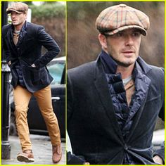 David Beckham donning a newsboy cap in chilly London!