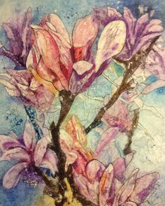 Violet Magnolia. Batik on rice paper. Original design from Kathie George.