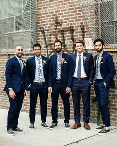 A Colorful Brooklyn Wedding with Lots of Patterns | Martha Stewart Weddings - Mark's groomsmen, a mix of friends from his hometown of Nashville and his college days, wore J.Crew as a nod to Ali's job there as a childrenswear designer. Mark donned a suit by Brooklyn Tailors.