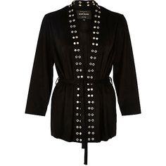 Kimono en suédine noir avec œillets - Manteaux/vestes - promos - Femme
