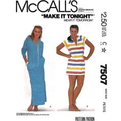 Hooded Beach Cover Up Pattern McCalls 7507 Caftan Style Beach