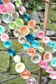Wedding Garland Paper Flowers Boho colorful paper by lillesyster