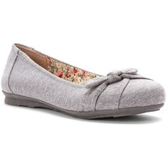 Jellypop Women's Carla Flat Flats (65 CAD) ❤ liked on Polyvore featuring shoes, flats, grey, gray flats, grey flat shoes, jellypop shoes, bow shoes e flat pumps