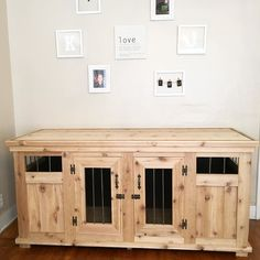 @jroskam and I built a dog kennel!! Solid wood with metal bars and carpet on the…