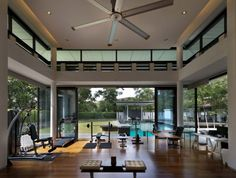Zeta House is situated in the outskirts of Kuala Lumpur on a 40000 sf plot of land adjacent to a communal park - CAANdesign Design Your Own Home, Home Gym Design, H Design, House Design, Diy Home Gym, Home Office Space, Workout Rooms, Interior Architecture, Interior Design