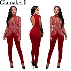 ce9b7a2bd6748 Glamaker Autumn mesh rhinestone applique sexy jumpsuit romper Open back  elegant jumpsuit Slim club geometric printed
