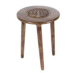 Attractive Wood Tripod Table. The top of this table features a circular shape with design that makes it unique. Keep this table anywhere you wish to in your living room, bedroom or hallway. This table has wooden carved design in centre which is very alluring. It will thus get well along with traditional and modern themes. This table has tripod base which makes it look more gracious. Dimensions: 17X17X22 Material: Mango Wood Finish:  Color: Brown Lead Time: 3 to 10 business...
