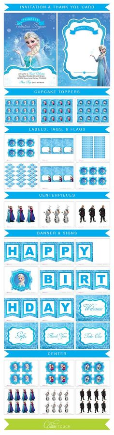Frozen Cupcake Toppers Invitation Frozen by CreativeTouchhh