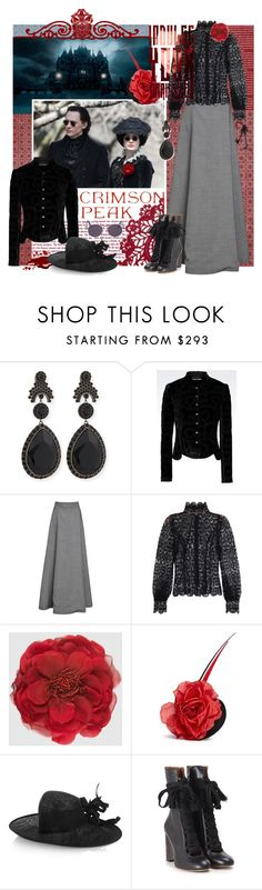 """""""Indulge Your Dark Side with Crimson Peak : Contest Entry"""" by sylandrya ❤ liked on Polyvore featuring Givenchy, Emporio Armani, Rosie Assoulin, Zimmermann, Gucci, Piers Atkinson, Philip Treacy, Chloé, Jean-Paul Gaultier and vintage"""