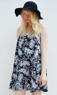 Floral swing strappy dress available in sizes XS-L on www.thewolfflower.com