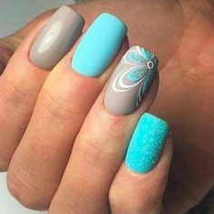 50 Creative Flower Nails Art For Your Valentines Day - Totally Pampered. - - 50 Creative Flower Nails Art For Your Valentines Day - Totally Pampered - Cute Nail Art Designs, Grey Nail Designs, Pedicure Designs, Pedicure Ideas, Blue Pedicure, Shellac Nail Art, Nail Polish, Nagel Blog, Gray Nails