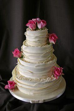 Wedding Cake - White Chocolate Wrap & Fresh Roses by Scrumptious Cakes (Paula-Jane), via Flickr