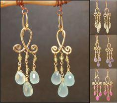 Filagree Wire Loop Earrings Stone Choice in 14k Gold-Filled or Sterling Silver #HandCraftedDesignerJewelry #DropDangle