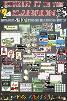 Your soccer theme classroom will be the talk of the school with this editable classroom decor bundle!  Kickin' it in the Classroom is packed full of ALL your back to school essentials for classroom management and to keep you organized all year long.  Designed with vibrant soccer themed clipart and digital backgrounds, I guarantee you won't be disappointed.  Click here to check out this inviting classroom decor bundle and be ready to score BIG when your students head back to school!
