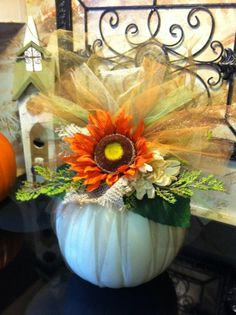 Faux Halloween Pumpkin Decoration by GreatwoodFlorals halloween centerpieces Holidays Halloween, Halloween Fun, Halloween Decorations, Halloween Centerpieces, Halloween Clothes, Costume Halloween, Autumn Crafts, Holiday Crafts, Holiday Fun