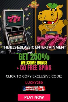 Lucky Hippo Casino powered by Realtime Gaming. Register and get 50 free spins in slot machines. Deposit and also get a massive 250% deposit bonus in Lucky Hippo Casino. All players can receive a 250% matching welcome bonus and 50 exclusive free spins with the coupon code LUCKY250. Wagering requirements: x40. Games allowed: Slots, Keno, table games. New only casino just launched, bringing you their bonuses and promos daily. Use the coupon code and claim 250% match bonus plus 50 free spins. Best Online Casino, Online Casino Bonus, Best Casino, Free Slot Games, Free Slots, Money Games, Table Games, News Online, Slot Machine