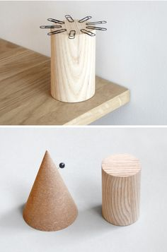 Cork cone (pins). Magnetic wood (clips).