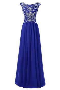 M Bridal Women's Beaded Rhinestones Cap Sleeve Crewneck Prom Homecoming Dress -- Awesome product. Click the image : Fashion for Christmas