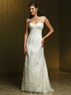 6c2c4da0cde Mia Solano A-line Lace gown with a sweetheart neckline and lace cap  sleeves. Chapel length train