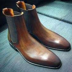 Brown, with a tinge of green. Blue Chelsea Boots, Chelsea Boots Outfit, Dress With Boots, Dress Shoes, Men Dress, Mens Fashion Shoes, Shoes Men, Men's Shoes, Men's Fashion