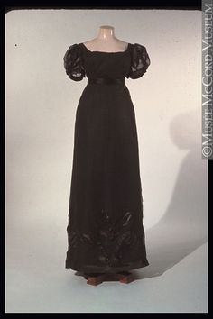 Black evening dress, could be for mourning 1820-1825. The McCord Museum