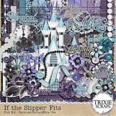 """If the Slipper Fits Digital Scrapbooking Kit Kid Fun Disney - Welcome to the magical and enchanted world of Cinderella with this beautiful and elegant take on the classic fairytale. """"If the Slipper Fits"""" is perfect for all your trips to your favorite """"Magical"""" destination, as well as weddings, formals, Halloween, princess dress-up play and so much more."""