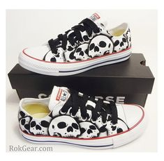RokGear - Skull shoes Converse All Stars oxfords Womens unique painted by RokGear Painted Sneakers, Painted Shoes, Flip Shoes, Me Too Shoes, Converse Sneakers, Converse All Star, Converse Design, Skull Shoes, Skull Hoodie