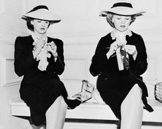 Bette Davis on The Letter set with her stand-in, Sally Sage