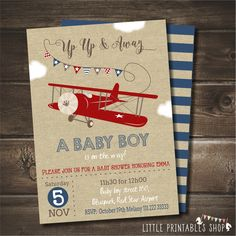 Airplane Baby Shower Invitation with FREE Blue Striped Back, Vintage Airplane Baby Shower, Digital Printable Invite, Red Airplane by LittlePrintablesShop on Etsy https://www.etsy.com/listing/483609187/airplane-baby-shower-invitation-with