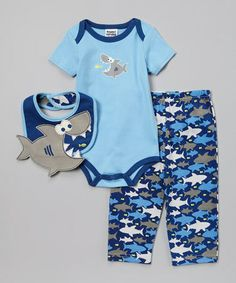 Jess -- wouldn't he look cute in this!!  Look at this #zulilyfind! Navy & Light Blue Shark Bodysuit Set - Infant #zulilyfinds