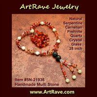 5N-21936 Yellow Jade,Serpentine Gemstone,Red Carnelian, Phrenite,Quartz 28inch