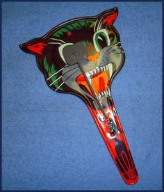 Vintage 1950's Tin Metal Paddle Halloween Black Cat Noisemaker US Metal Toy Co.