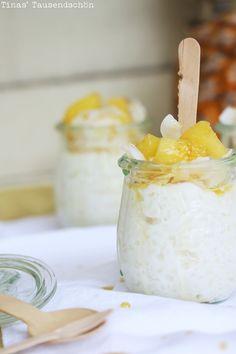 Tina's Tausendschön: Das schmeckt wie ein Karibikurlaub! Kokosmilchreis mit karamellisierter Ananas