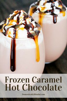Frozen Caramel Hot Chocolate is a deliciously sweet way to enjoy your favorite hot drink in a cool new way!