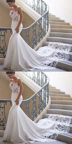 2019 Vestidos de novia de la sirena de las correas de espagueti Spandex con  el tren de la corte del Applique US  239.99 VTOPFTJBPSH - VestidoBello.com f7589de53678