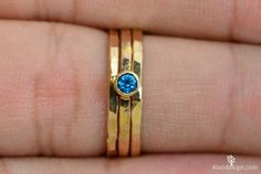 Classic Solid 14k Gold Blue Zircon Ring 3mm gold by Alaridesign