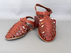 Women's Brown Huarache Leather Sandals by LittleSistersSecret, $34.99