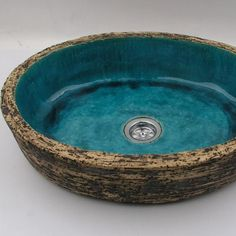 Turquoise rock sink overtop washstand unusual by Dekornia on Etsy Ceramic Sink, Ceramic Clay, Ceramic Pottery, Wash Stand, Turquoise, Vessel Sink, Bathroom Faucets, Bathrooms, Decorative Bowls