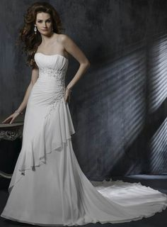Admirable Strapless Beads Working Empire Chiffon Satin Chapel Train Wedding Dress for Brides