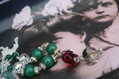 Fairy Tale and fantasy Silver Assemblage necklace, unique Upcycled chunky Boho statement gemstone necklace, Made in Ireland, poison ring, Christmas Necklace, Christmas Jewelry, Sister Gifts, Gifts For Mom, Poison Ring, Green Gemstones, Upcycled Vintage, Bead Caps, Vintage Rhinestone