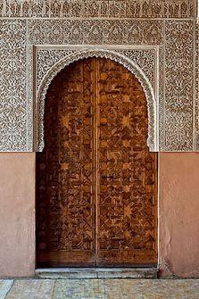 wooden carved doors Alhambra, Granada Spain